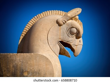 Figure of Homa the griffin bird used as decorative capital statuary of a column in Persepolis Takht-e Jamshid of Iran.