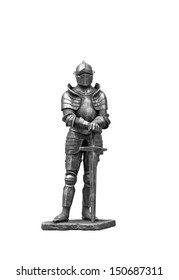 The figure of a knight in steel armor on a white background.