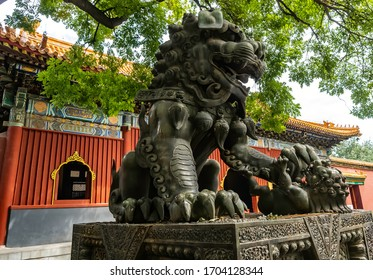 Figure of a lion, a symbol of power. Dynasties Confucius Temple made in Ming and Qing dynasty, City of Beijing, China - 08/16/18