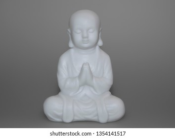 figure of little happy enlightened monk boy buddha in meditation, clear mind, self-improving and comprehends nirvana