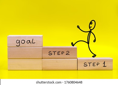 Figure of a little man running to the goal by stacked in the form of a ladder wooden blocks on yellow background with a copy of the space. Business development, strategy concept.