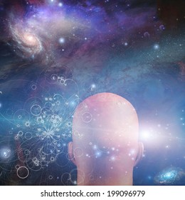Figure looks into space