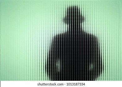 Figure of a man with hat behind blue glass. Element design.