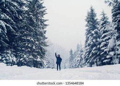 figure of a man walking through a winter landscape
