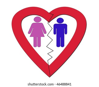A figure of a man and a woman are inside a heart but they are separated by a crack or break that is between them
