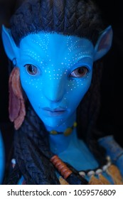 The figure of Neytiri with the famous film Avatar. In the Museum of Film Legends in Prague 30.3.2018.