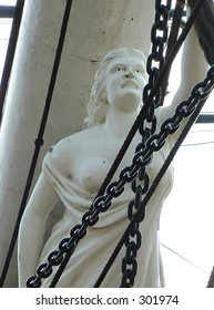 Figure on the bow of the Cutty sark sailing ship. Greenwich,London.