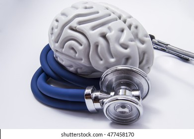 The figure on the brain is on twisted into a spiral tube of the stethoscope with chestpiece, which as it listens to the human brain. The idea for the diagnostic imaging in neurology and neuroscience