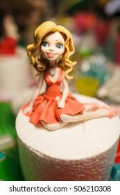figure on children's cake. Barbie Doll Princess Cake