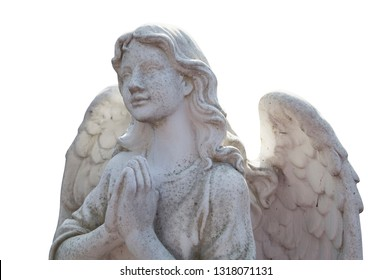 Figure of a praying angel isolated on white backgrouund. Ancient statue.