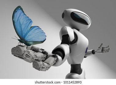 figure of the robot and butterfliy on a white background. 3D rendering.