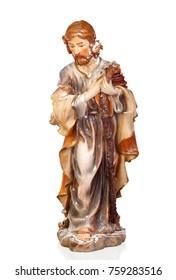 Figure of Saint Joseph of the Nativity scene isoalted on a white background
