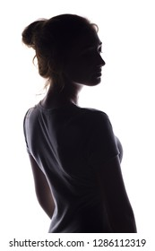 figure of a sexy sensual young woman standing back and turning around, a beautiful girl with hand-picked hair on a white isolated background