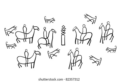 The figure shows the ancient drawings