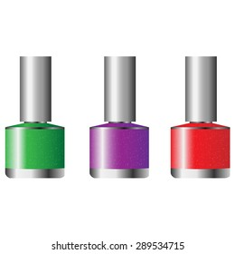 the figure shows three different nail polish colors