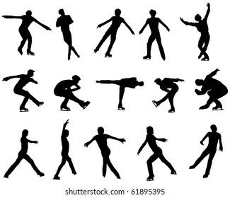 Figure skate man silhouette set for design use