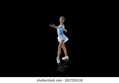 figure skater isolated on black