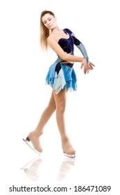 Figure skater posing in skating performance costume