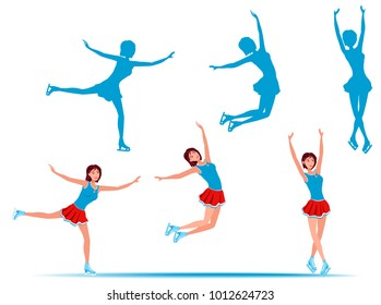 Figure skating. Happy  girl in short red skirt and blue shirt dancing on on ice. Different poses and added silhouettes. Raster version.