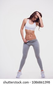 Figure sports girl on white background