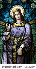 Figure in stained glass window