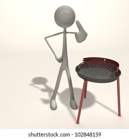 a figure is standing next to a grill