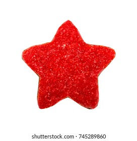 Figure star, gingerbread, covered  red sugar. Isolated on white background.