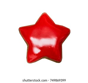 Figure star, gingerbread, covered  red icing. Isolated on white background.