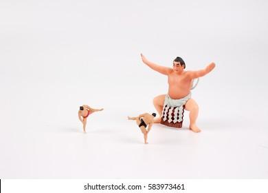 the figure of Sumo Wrestler with white board