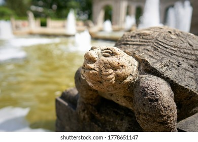 Figure of a Turtle at the Märchenbrunnen fairytale fountain from 1913 in the public Volkspark Friedrichshain in Berlin