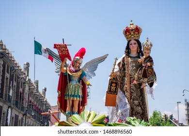 Figure of the Virgen del Carmen and another saint, during pilgrimage in Mexico City