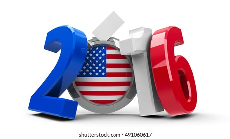 Figures 2016 in the colors of american flag with badge isolated on white background, represents Presidential Election 2016 in USA, three-dimensional rendering, 3D illustration