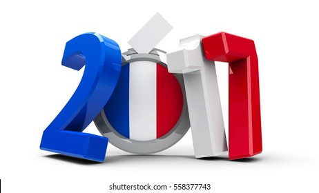 Figures 2017 in the colors of french flag with badge isolated on white background, represents Presidential Election 2017 in France, three-dimensional rendering, 3D illustration