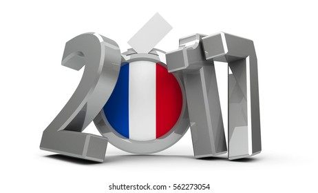 Figures 2017 with french flag badge isolated on white background, represents Presidential Election 2017 in France, three-dimensional rendering, 3D illustration