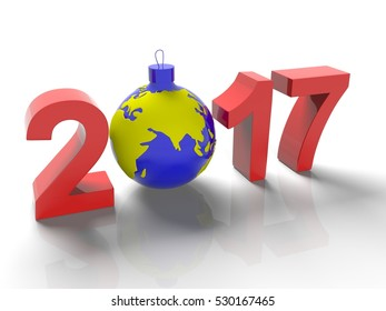 The figures in 2017, with the image of the ground like a toy for  Christmas tree, in the form  the planet Earth, on  white background, 3d render