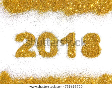 figures 2018 and a border of golden glitter on white background symbol of new year