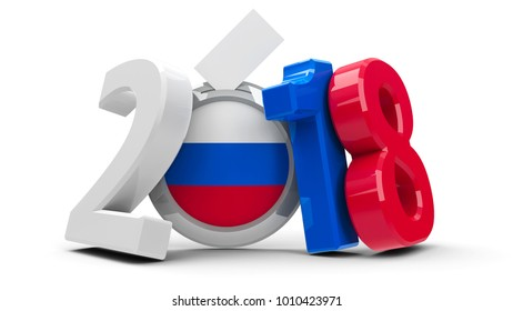 Figures 2018 in the colors of russian flag with badge isolated on white background, represents Presidential Election 2018 in Russia, three-dimensional rendering, 3D illustration