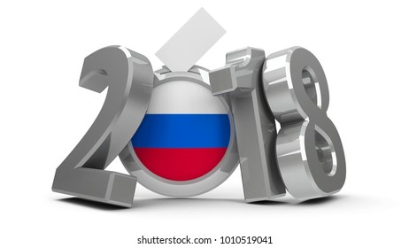 Figures 2018 with russian flag badge isolated on white background, represents Presidential Election 2017 in Russia, three-dimensional rendering, 3D illustration
