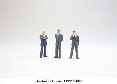 figures business men stand on white Back ground