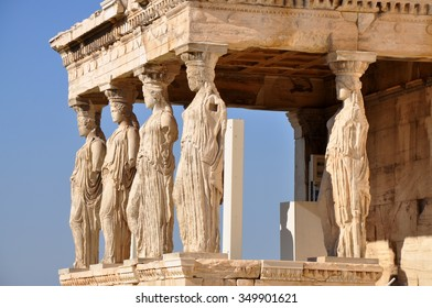 Figures of the Caryatid Porch of the Erechtheion on the Acropolis at Athens.