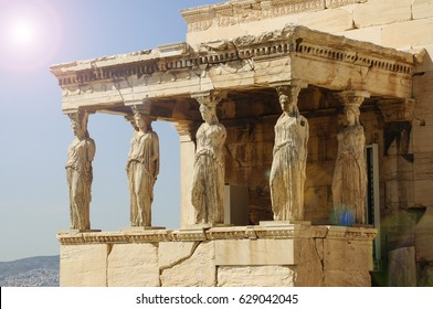 Figures of the Caryatid Porch of the Erechtheion on the Acropolis at Athens