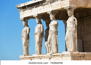 Figures of the Caryatid Porch of the Erechtheion on the Acropolis at Athens. Greece