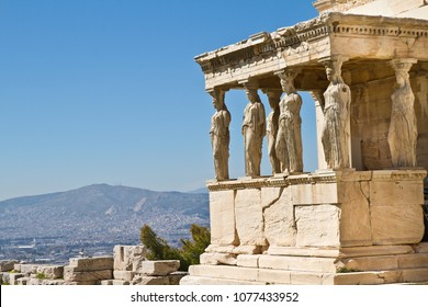 Figures of Caryatids Porch of the Erechtheion on the Parthenon on Acropolis Hill, Athens, Greece