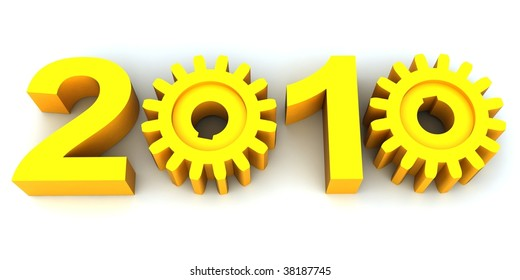 Figures of coming new year where zero are replaced with gears