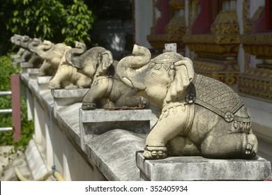 Figures of elephants in Bangkok temple