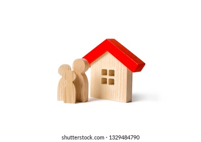 Figures of the family and house on an isolated background. real estate, your own home. Buying or selling. Affordable housing on credit or mortgage. Renovation and construction. Subsidies, citizenship.