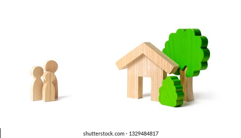 Figures of the family and house on an isolated background. real estate, your own home. Affordable housing on credit or mortgage. Renovation and construction. Subsidies, citizenship. Buying or selling.