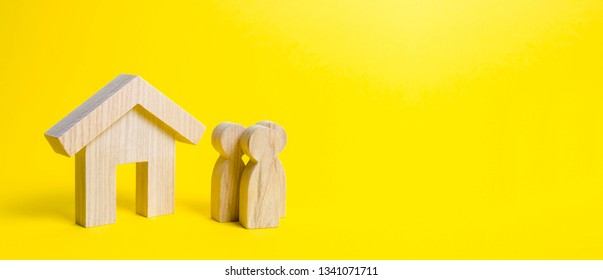 Figures of the family and house on a yellow background. real estate, your own home. Buying or selling. Affordable housing on credit or mortgage. Renovation and construction. Subsidies. Banner