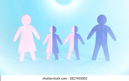 Figures of family people of father, mother and children on a blue background. Human genetics and genotype concept, microbiology