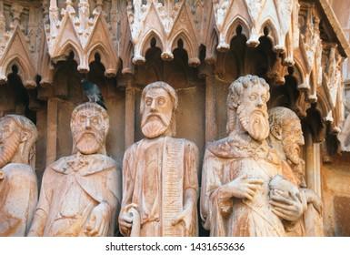 The figures of saints - the ftagment of the Catholic cathedral of Tarragona, Catalonia (Catalunia), Spain, Europe